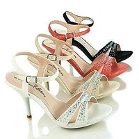 Lin85 By Blossom, Pearl Faux Suede Open Toe Sling back Low Platform Pump Sandals