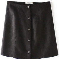 Black High Waisted Suede Skirt