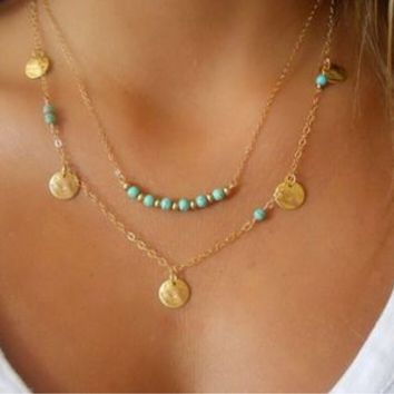 Beaded Layer Pendant Necklace