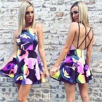 Floral Print Mini Dress Backless Sleeveless Womens Fashion Straps Sundress  F_F = 1902554116
