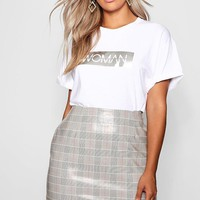 Plus High Shine Checked A Line Mini Skirt | Boohoo