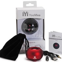 YooMee Red BEAT51 Portable Travel-size Mini Speaker for Apple iPhone 4g, iPad, iPod Touch, Other MP3 Players, Cellular Phones, PC Computers, and Tablet PC (Red)
