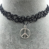 Tattoo Choker Necklace with Peace Pendant + Gift Box-31