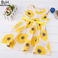 Cute Fashion Sunflower dress Baby Girls Floral Dresses, Kids Girls Clothes Cute Sleeveless