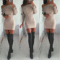 Sleeve Off-Shoulder  Bodycon Dress