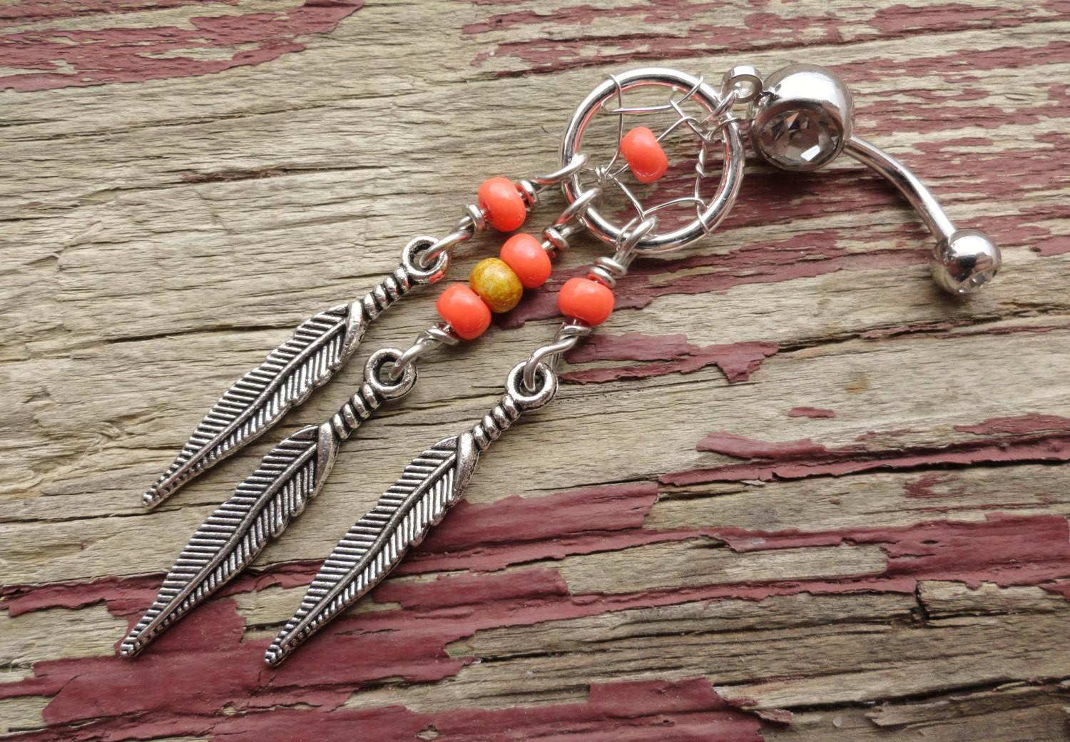 Image of Coral Beaded Tribal Dream Catcher Belly Button Jewelry Ring