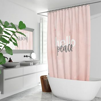 Peach Marble Hello Peace Graphic Style Quick-drying Fabric Shower Curtain