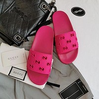 LV Louis Vuitton GG hollow women's solid color slippers shoes