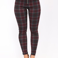 Doreen Plaid Leggings - Red Multi