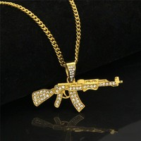 ROMAD AKM Gun Pendant Necklace AK47 Iced Out Rhinestone With Hip hop Miami Cuban Gold Silver Color Men Women Punk Jewelry R4