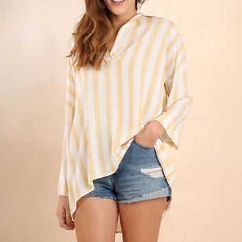 Striped V-Neck High Low Tunic