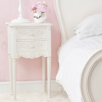 Provencal Pretty White Bedside Table