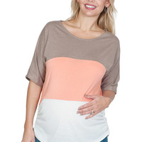 Color Blocked Maternity Top - Leave It To Glee
