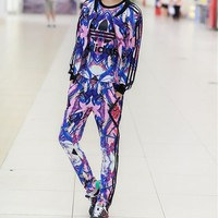 """Adidas"" Fashion Casual Multicolor Clover Letter Print Sweater Cardigan Set Three-Piece Sportswear"