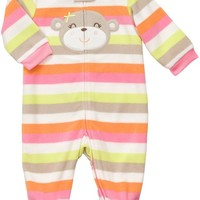 Carter's Micro Fleece Snap - Pink Multi Stripe Monkey-6M