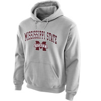 Mississippi State Bulldogs Midsize Arch Over Logo Hoodie – Gray