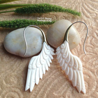 """Tribal Earrings, """"Harmony"""" Natural, Bone, Brass Tops Sterling Silver Posts, Hand Carved"""