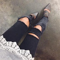 Fashion All-match Ripped Hollow Jeans Trousers Women Pants