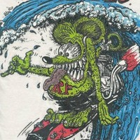 Rat Fink Surfink Surfing Ed Roth design white t shirt S-XX