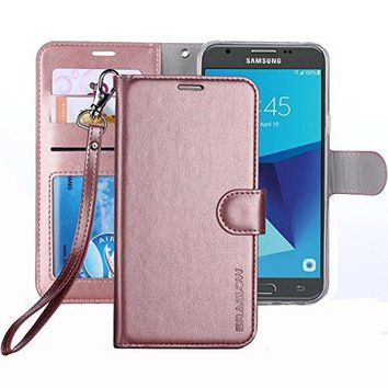 Samsung Galaxy J7 V / J7 Perx / J7 Sky Pro / J7 Prime / Galaxy Halo Case / Galaxy J7 2017 ,  Leather Wallet Flip Protective Case Cover with Card Slots