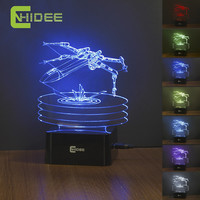 X-Wing Fighter Star Wars Night Lamp 3D Vision Led Nightlights USB Desk Lampara 7 Colors Changing Touch Sensor Luz de Noche