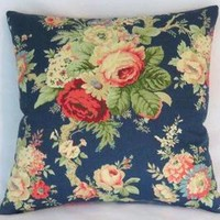 Waverly Blue Rose Pillow Cover, Sanctuary Rose