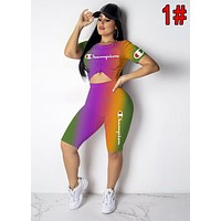 Champion Summer Popular Women Print Gradient Shorts Sleeve Top Pants Set Two Piece 1#