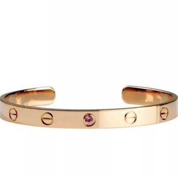 Cartier LOVE Open Bracelet Bangle with Saphire - Size 17 - K18 Pink Gold