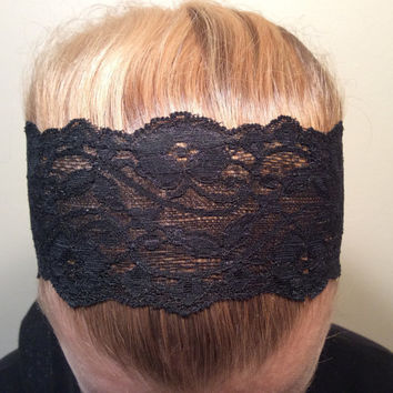 "2 Black Lace Headbands, Hairbands , Stretchy  - READY TO SHIP! 3"" Wide and 1"" Wide"