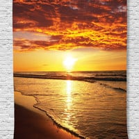 Ambesonne Hawaiian Decor Collection, Scenery Picture Print of Beach and Sunset Ocean Waves Print, Bedroom Living Kids Girls Boys Room Dorm Accessories Wall Hanging Tapestry, Gold Orange Dark Ecru