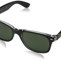 Ray-Ban RB2132 6052 New Wayfarer Black/Clear Frame Green 58mm Lens Sunglasses