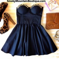 Sexy Black Bustier Dress with Studs and with Adjustable Straps - Size S/M/L - Smoky Mountain Boutique