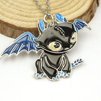 How To Train Your Dragon Black Enamel Statement Necklace Night Fury