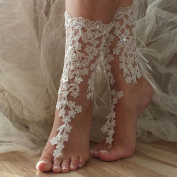 ivory Barefoot , french lace sandals, wedding anklet, Beach wedding barefoot sandals, barefoot sandals.