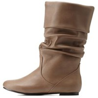 Taupe Slouchy Flat Fold-Over Mid-Calf Boots by Charlotte Russe