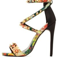 Black Multi Privileged for CR Studded Floral Heels by Charlotte Russe