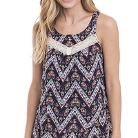 Garden State Crochet Accent Floral Tunic Top