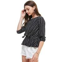 Stripe Tie Waist 3/4 Sleeves Blouse