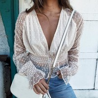 Elegant mesh lace women blouse shirt Sexy v-neck long sleeve blouse ladies Backless transparent peplum top female
