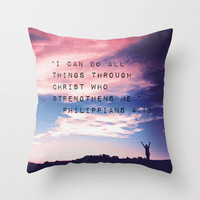 Philippians 4:13 in Nature Throw Pillow by Caleb Troy