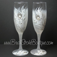 Hand Painted Champagne Flutes - White Peacock Feathers - Original Designs by Cathy Kraemer