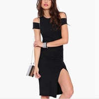 Black Off-The-Shoulder Sheath Split Mini Dress