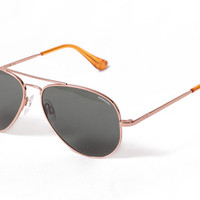 Randolph - Concorde Rose Gold Satin Sunglasses, Tan Polarized Lenses