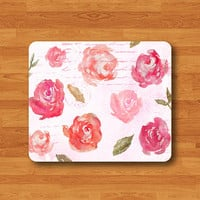 Lace Flower Pink Envelope Stamp LOVE Mouse Pad Vintage Painting Desk Deco Rubber Flower Girl MousePad Gift Personalized Custom Computer Pad