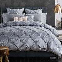 Hand-made Pinch Pleat bedding sets queen king size 4pcs silver gray bed cover solid color satin duvet cover set bed sheet cotton