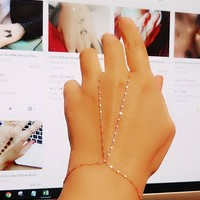 Gold Plain Cubic Chain Slave Bracelet Hand Chain Over 925 Sterling Silver