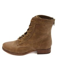 Colored Zipper Lace-Up Combat Boots by Charlotte Russe