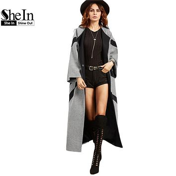SheIn Womens Coats Winter 2016 Color Block Single Button Women Basic Coats Outwear Grey Contrast Panel Kimono Sleeve Cocoon Coat
