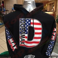 DURAMAX American Flag Black Hoodie Pullover chevy Truck S-2XL FRONT & BACK
