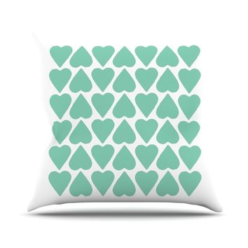 "Project M ""Mint Up and Down Hearts"" Throw Pillow"